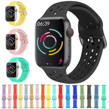 Silicone Strap For Apple Watch band 44mm 42mm 40mm 38mm Sport watchband bracelet iWatch for apple watch series 6 SE 5 4 3 44 mm