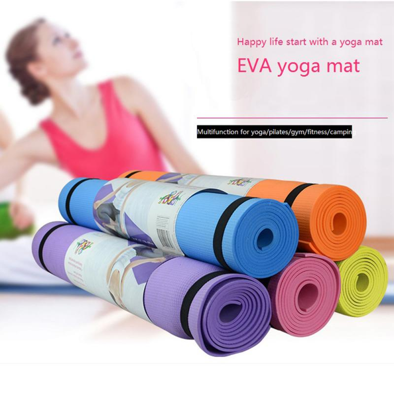 """Jockey Blue Yoga Mat Exercise Fitness Gym Workout with Carrying Strap 24/"""" Wide"""