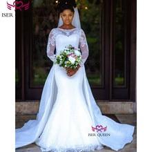 O neck Illusion Long Sleeves Mermaid Wedding Dresses Pure White Detachable Wedding Dresses Soft Satin Robe De Mariee W0607