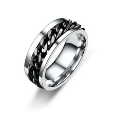 Classic Spinner Chain Men Rings Cool Stainless Steel 8mm Width Fashion Rings For Men Women Jewelry Party Gift