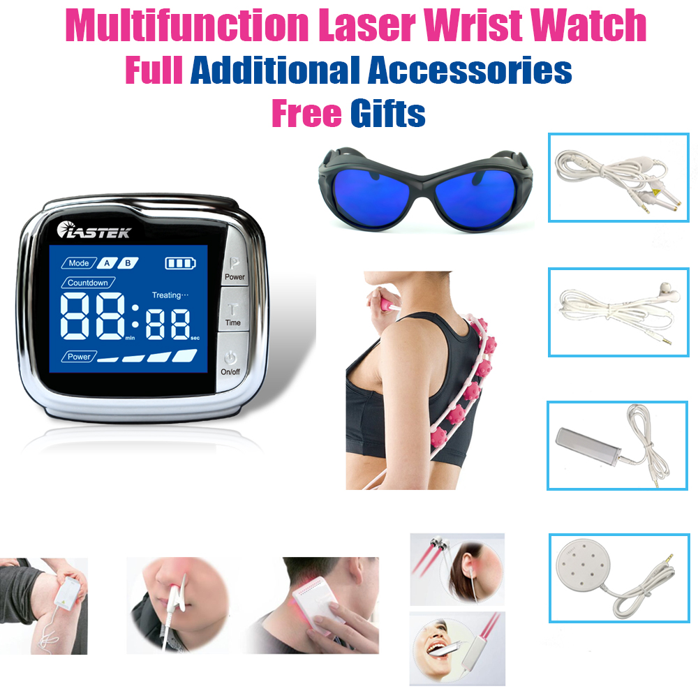 LASTEK Multifunction Therapy Device Full Accessories Pain Relief Pharyngitis Diabetics Hypertension Laser Wrist Watch Free Gifts