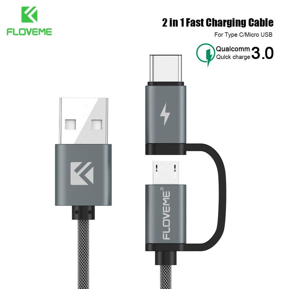 Кабель быстрой зарядки FLOVEME QC 3,0 для Samsung Xiaomi 2 в 1, кабель Micro USB Type-C для Huawei P30 Pro, usb-кабель для быстрой зарядки