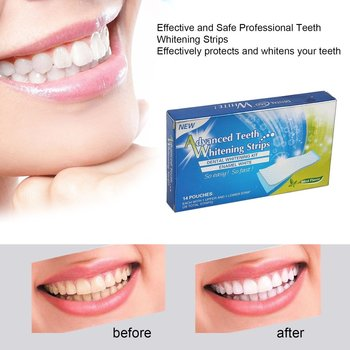 28Pcs/14Pair Gel Teeth Whitening Strips Oral Hygiene Care Double Elastic Tooth Whitening Strips Dental Bleaching Tools