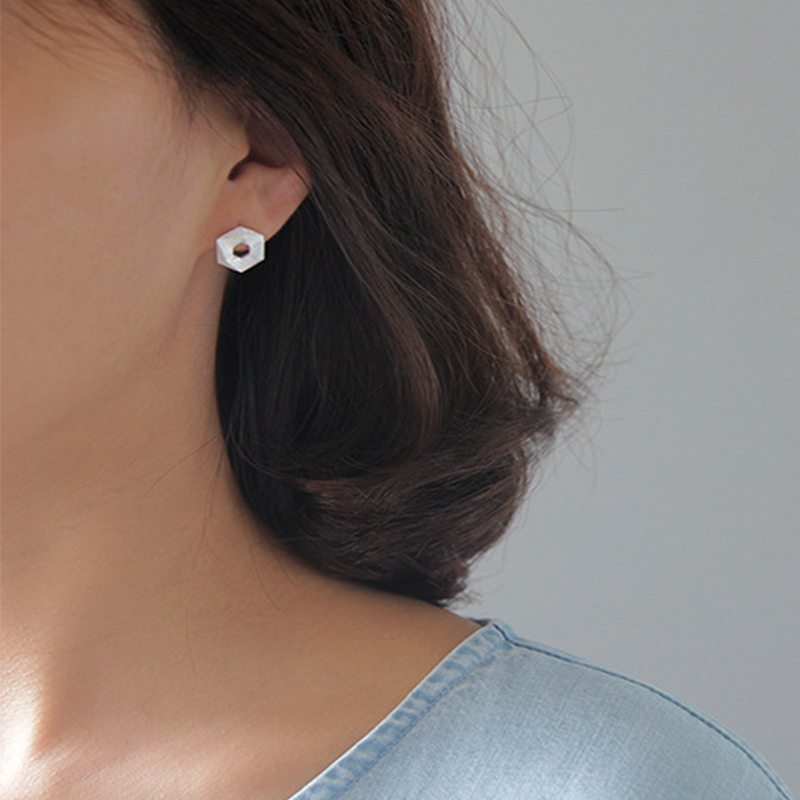 Acecare 925 Silver Piercing Jewelry Hexagon Stud Earrings Solid