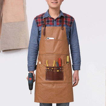 Vintage Style Canvas Working Aprons Waterproof Wear Resistant Carpenter Aprons with Leather Pocket Waiter Apron Unisex Aprons фото