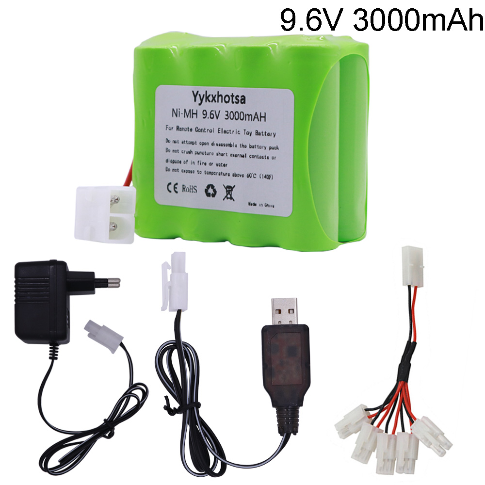 9.6V 3000mAh NI-MH Battery Tamiya Plug With USB Charger For RC Toys Electric Toys Security Lighting Facilities AA Battery 9.6 V