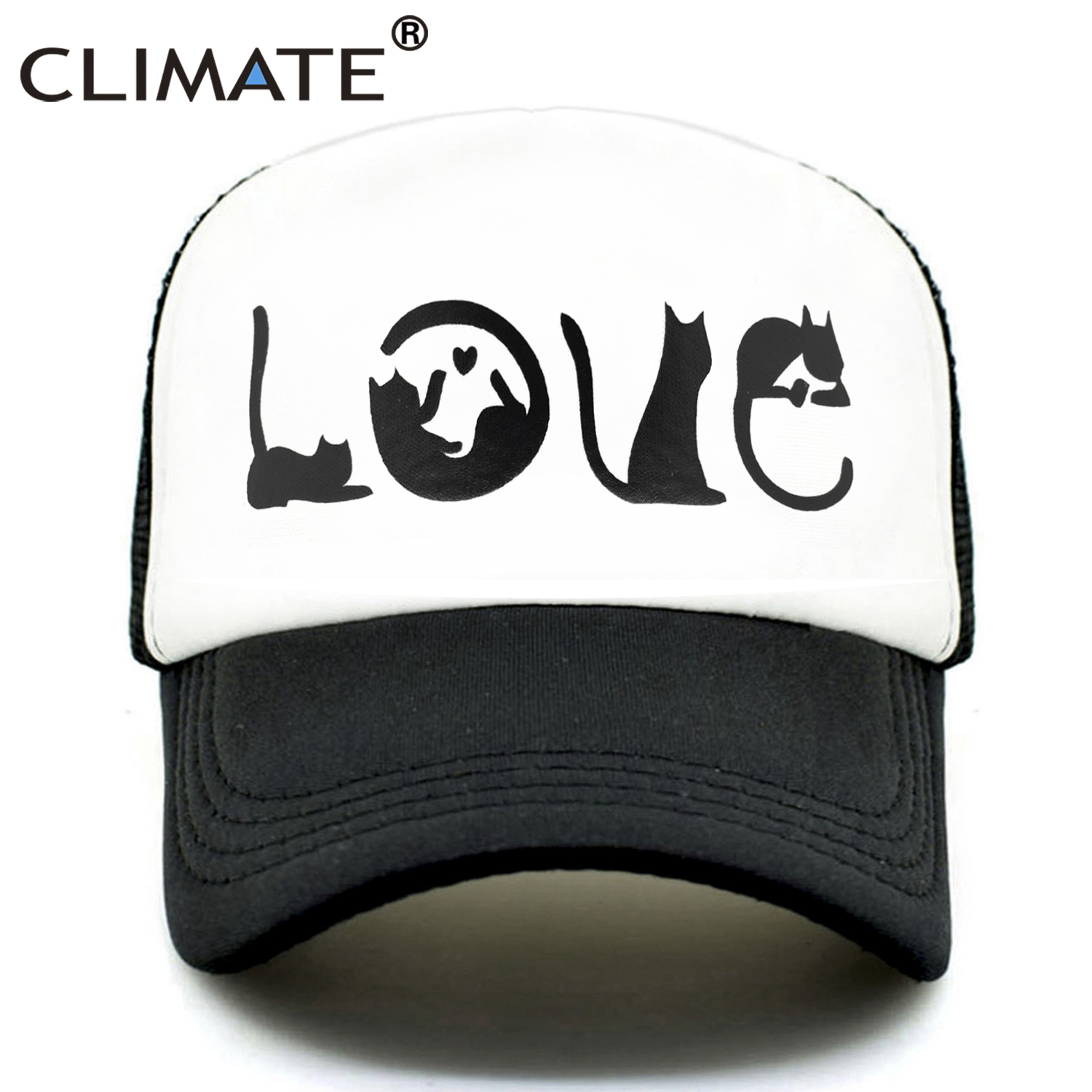 CLIMATE Cat Spell Love Trucker Cap Hat Cat Lover Cap Cute Funny Cat Cap Hip Hop Lovely Summer Mesh Trucker Cap Hat for Women(China)