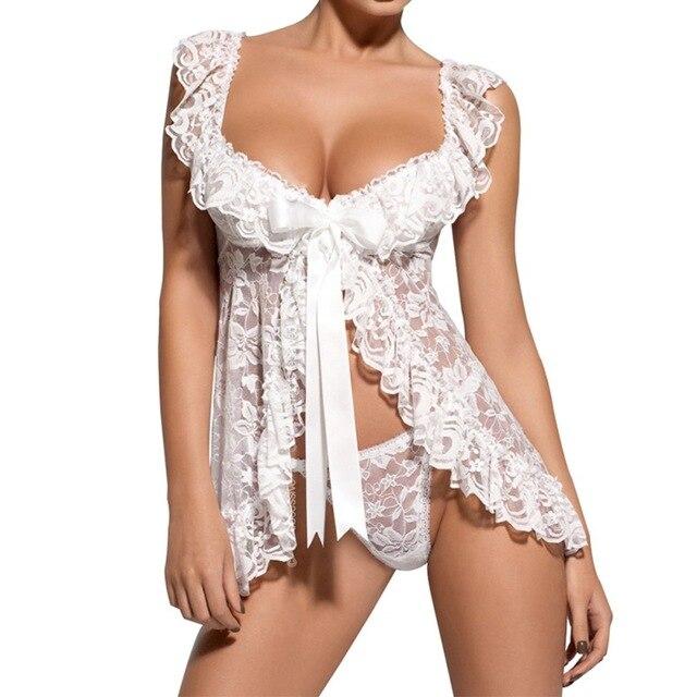 Новое поступление размера плюс для женщин Женский сексуальный костюм для сна кружевное платье нижнее белье g-стринги, пижамы