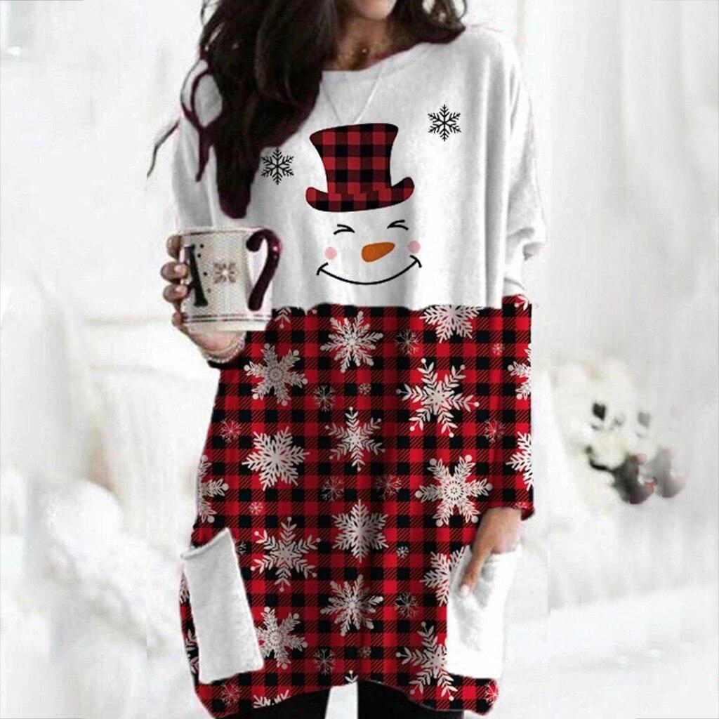 Hot Sale Women's Christmas Color Matching Print Long-sleeved Sweatshirt Casual Blouse Winter Korean Style Hoodies Women F 7