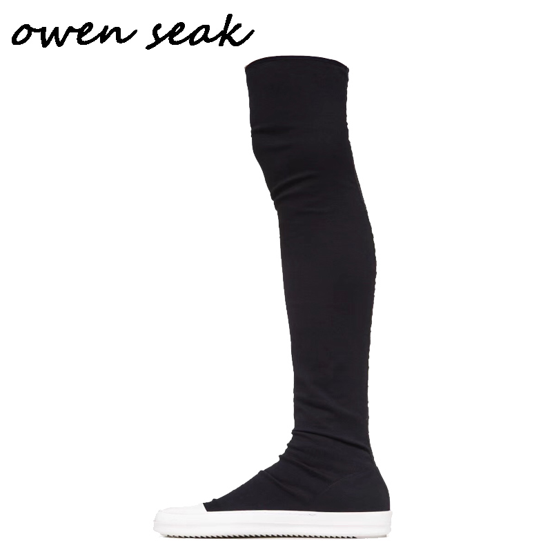 Owen Seak Men Over Knee High Boots Luxury Trainers Canvas Winter Boots Casual Snow Flats Black Big Size Shoes