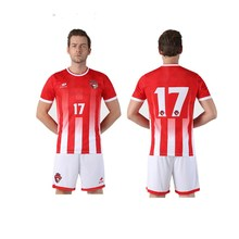 18 19 New Jerseys Soccer Sets Camiseta Football Uniform Can Fully Sublimation Wear White Red Stripe