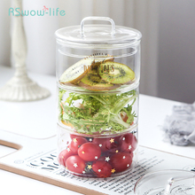 Japanese Style Creative Small Glass Bowl With Cover Transparent Fruit Salad Bowls Korean Dessert Tableware Microwave Oven