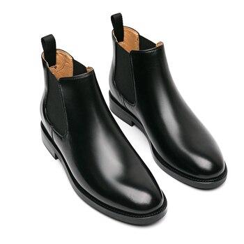Botas de estilo británico para mujer, botines de cuero natural con plataforma...