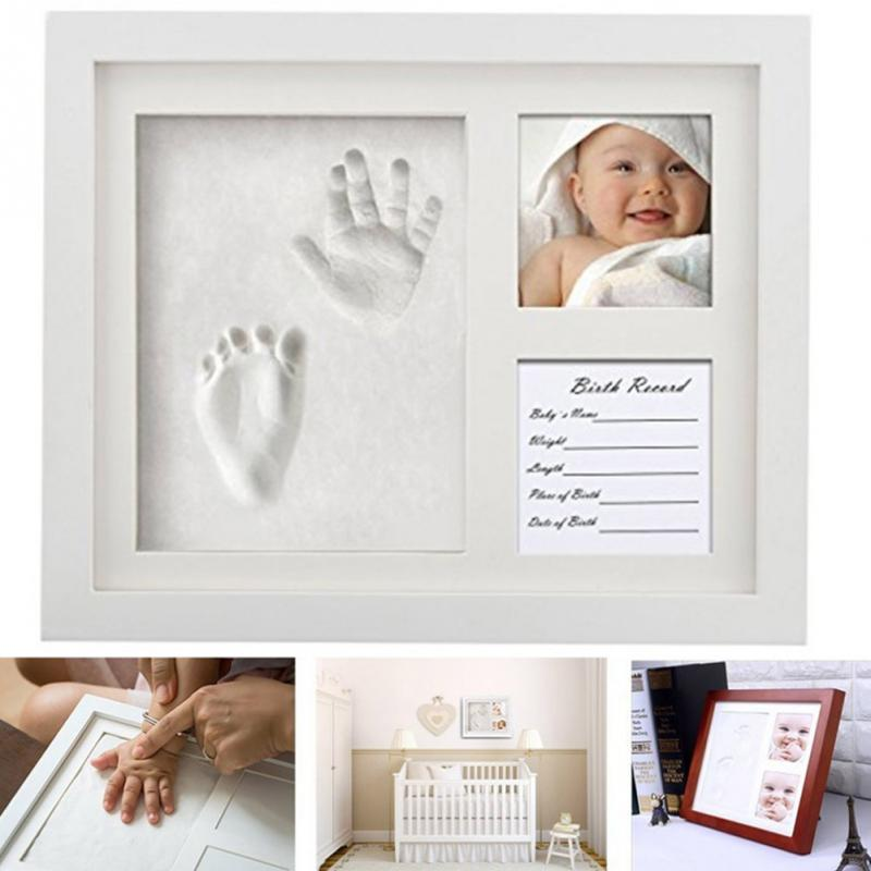 Baby Souvenirs Photo Frame Kit Newborn Baby Handprint And Footprint Mold Maker Solid Wooden Photo Frame Hot Sale