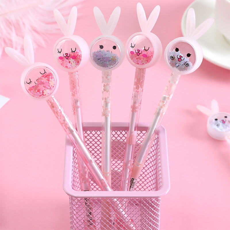 (2 Pieces/lot) Cartoon Rabbit Eared Sequined Gel Pen Girl's Heart Signature Pen Cute Student Test Writing Pen
