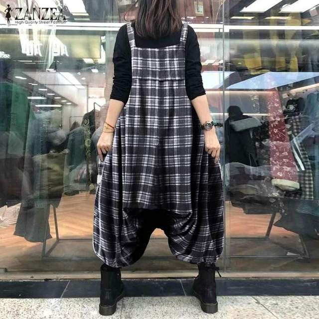 ZANZEA Summer Sleeveless Drop Crotch Overalls Women Jumpsuits Vintage Plaid Checked Rompers Baggy Loose Suspenders Lantern Pants 4