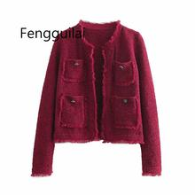 Elegant Soft Tweed Jacket Tassel Long Sleeves O Neck Female Office Lady Coat Wine Red Women Short Cardigan New