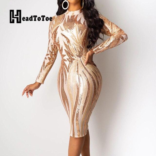 Glitter Mock Neck Long Sleeve Sequins Bodycon Dress Women Colorblock Sexy Skinny Party Dress 5