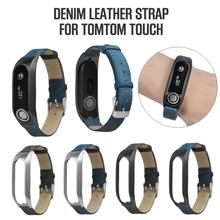 Vintage Leather Canvas Bracelet Watch Band Metal Case Wristband Strap For Tomtom Touch Drop Shipping