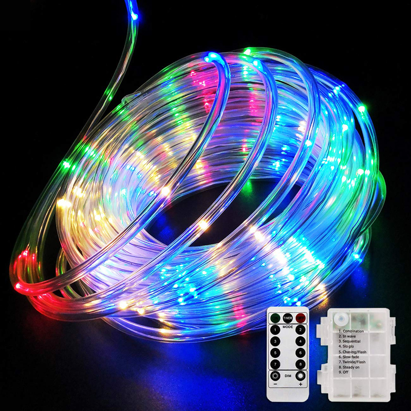 LED Rope Lights Battery Operated String Lights 10M 8 Modes Outdoor Solar LED Fairy Light With Remote For Garden Party Decoration