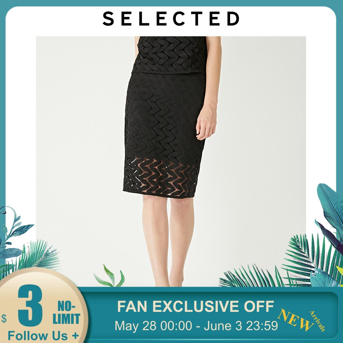 SELECTED Women's Hollow Lace Straight Fit Commuter Cut-outs Skirt S|41931G501【Fan Get New Arrivals Coupons in the Description image