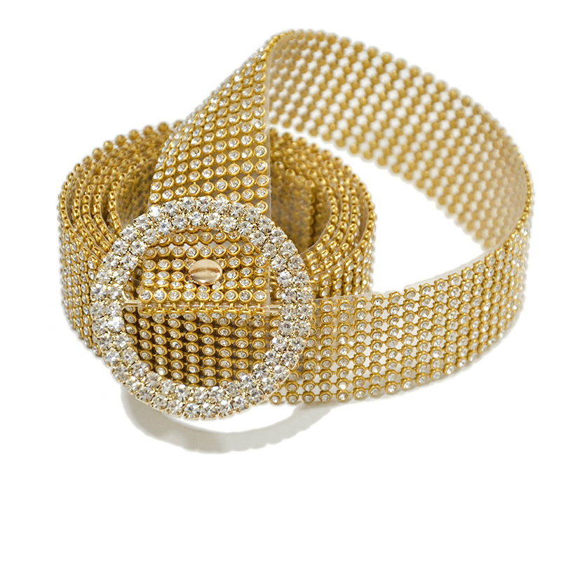 Fashion Thin Shiny Rhinestone Belt Transparent Crystal Belts For Women 's Casual Metal Buckle Pvc Leather Long Waist Straps