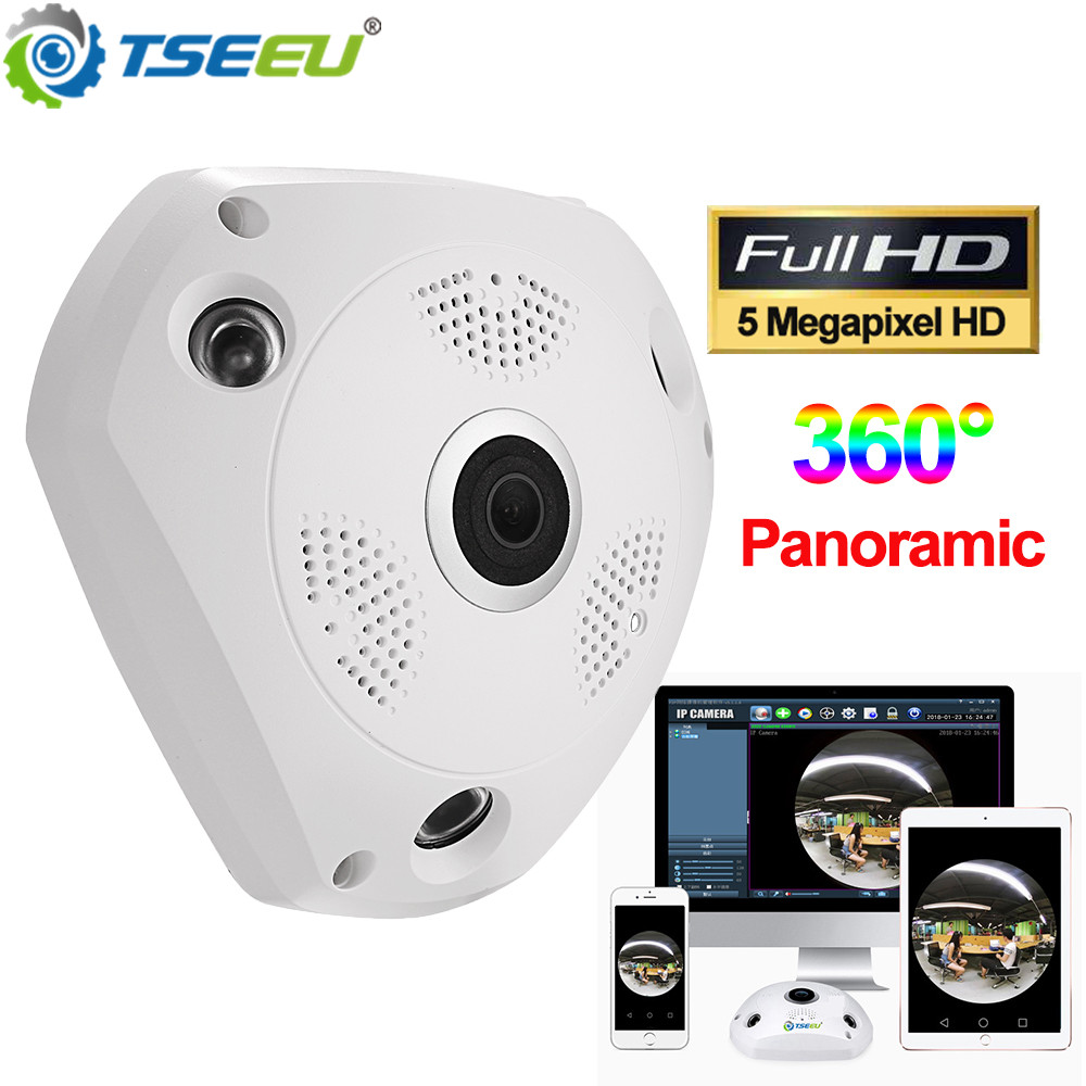 5 Megapixel Wifi Indoor Panoramic Fisheye 360 Degree IP Camera Camhi Pro App View Remotely Two Way Audio Local Alalrm House Cam