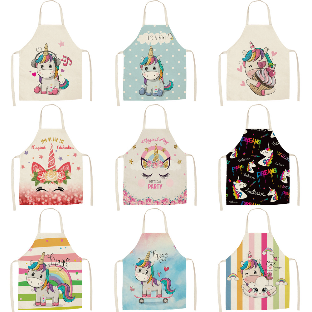 Parent-child Kitchen Apron Cartoon Rainbow Unicorn Printed Sleeveless Cotton Linen Aprons For Men Women Home Cleaning Tools