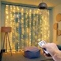 СВЕТОДИОДНЫЙ занавес  3x2/3x3 м  300 светодиодов  5 В  USB  дистанционное управление  диммируемая  8 моделей  лампа-сосулька  украшение для рождества ...
