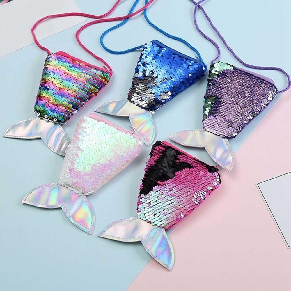 Femmes sirène queue paillettes porte-monnaie filles sacs à bandoulière fronde argent changement portefeuille porte-cartes sac à main pochette enfants cadeaux