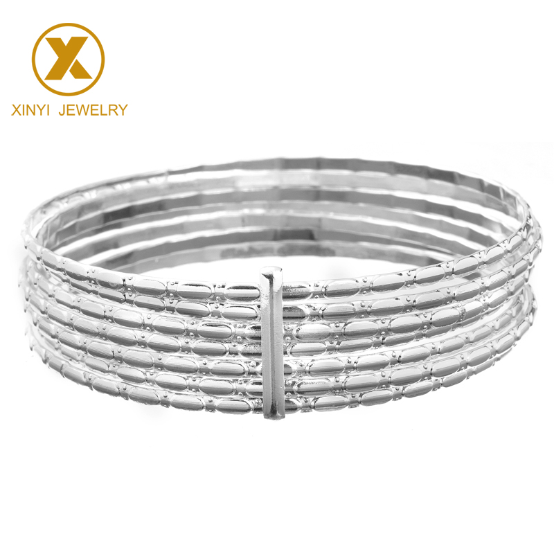 Popular women's luxury silver bracelet 2mm thin bracelet fashion hollow-out jewelry bracelet 7 pieces sz1434-5