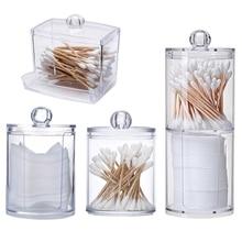 Acrylic Makeup Organizer Cotton Swabs Qtip Container Cosmetic Makeup Cotton Pad Organizer Jewelry Storage Box(Empty Box)