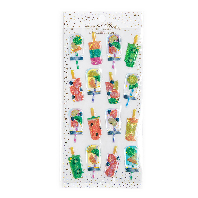1 Sheet Cute Fruit Popsicle Ice Cream Crystal DIY Stickers Decorative Scrapbooking Diary Album Stick Label Kids Gift