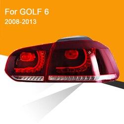 Lámpara trasera LED Aseembly para Golf 6 2008 2009 2010 2011 2012 2013 luz trasera LED Luz de señal de giro secuencial