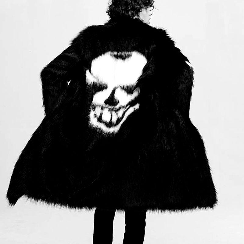 Модное зимнее Мужское пальто из искусственного меха с рисунком черепа, длинное теплое пальто, свободные толстые черные белые мужские мехов...