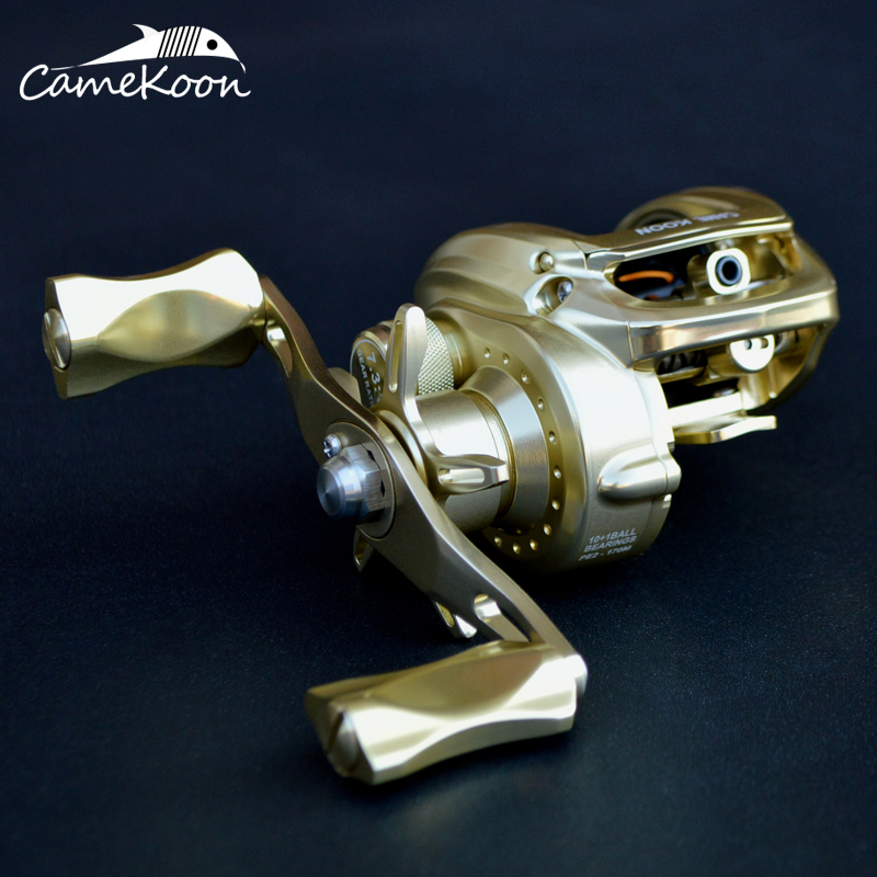 CAMEKOON Baitcasting Reel Aluminum Frame And Handle 10+1 Ball Bearings 7.3:1 Gear Ratio High Speed Saltwater Fishing Reel