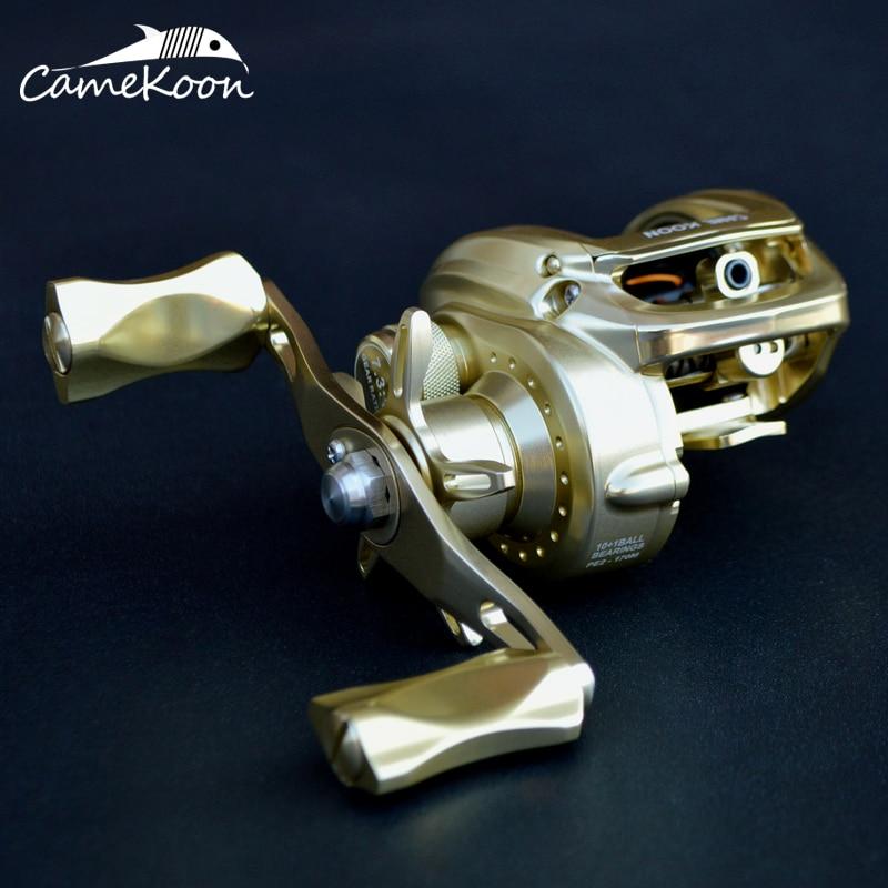 CAMEKOON Baitcasting Reel Aluminum Frame And Handle 10+1 Ball Bearings 7.3:1 Gear Ratio High Speed Saltwater Fishing Reel