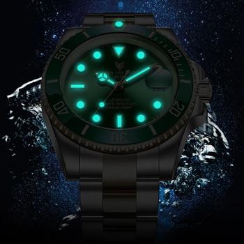 2021 LIGE New Watch Men Automatic Mechanical Tourbillon Clock Fashion Sport Diving Watch 100ATM Waterproof Luminous Watches Mens 2
