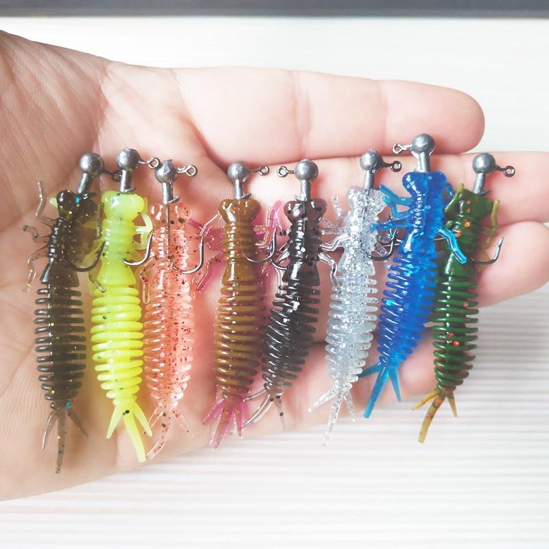 POETRYYI Larva Soft Lures 60mm Artificial Lures Fishing Worm Silicone Bass Pike Minnow Swimbait Jigging Plastic Baits 30