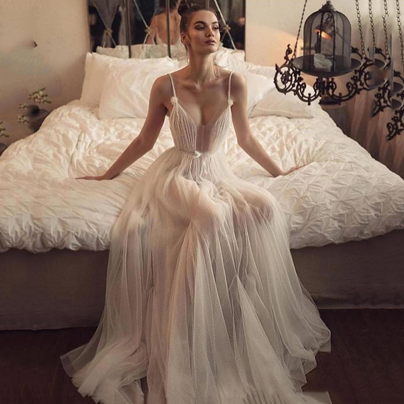 Eightree Boho Wedding Dresses Spaghetti Straps Illusion Backless Bridal Dress Tulle A Line Bridal Gowns Unique Wedding Dress