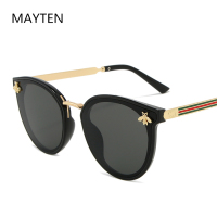 2020 New Bee Women's Sunglasses Oval Metal Frame Little Bee Men's Sunglasses UV400 Classic Retro Brand Sport Glasses