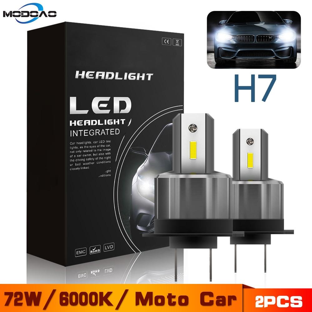 2PCS 72W H7 LED Car Headlight 12V 24V Motorcycle Bulbs 7200LM 360 Degree High/Low Beam White Lights Waterproof Lamp