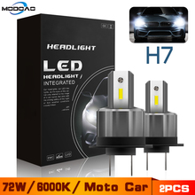 2PCS 72W H7 LED Car Headlight 12V 24V Motorcycle Bulbs 7200LM 360 Degree High/Low Beam White Lights Waterproof Lamp