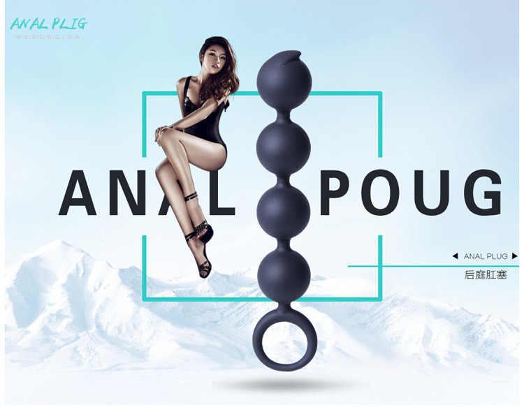 Contas Anal com Anel de Puxar Erótico G-spot Silicone Butt Plug Sex Toys para Mulheres Dos Homens de Próstata Massagem 4 bolas
