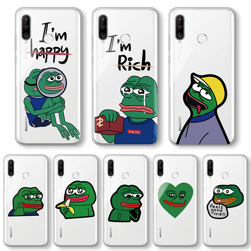 Cool Funny Frog Silicon Cover For Huawei Honor 20S 10 9 Nova 5T Mate 20 P40 P30 P20 Pro P10 Lite 2017 P Smart Y9 Y7 Y6 2019 Case(China)