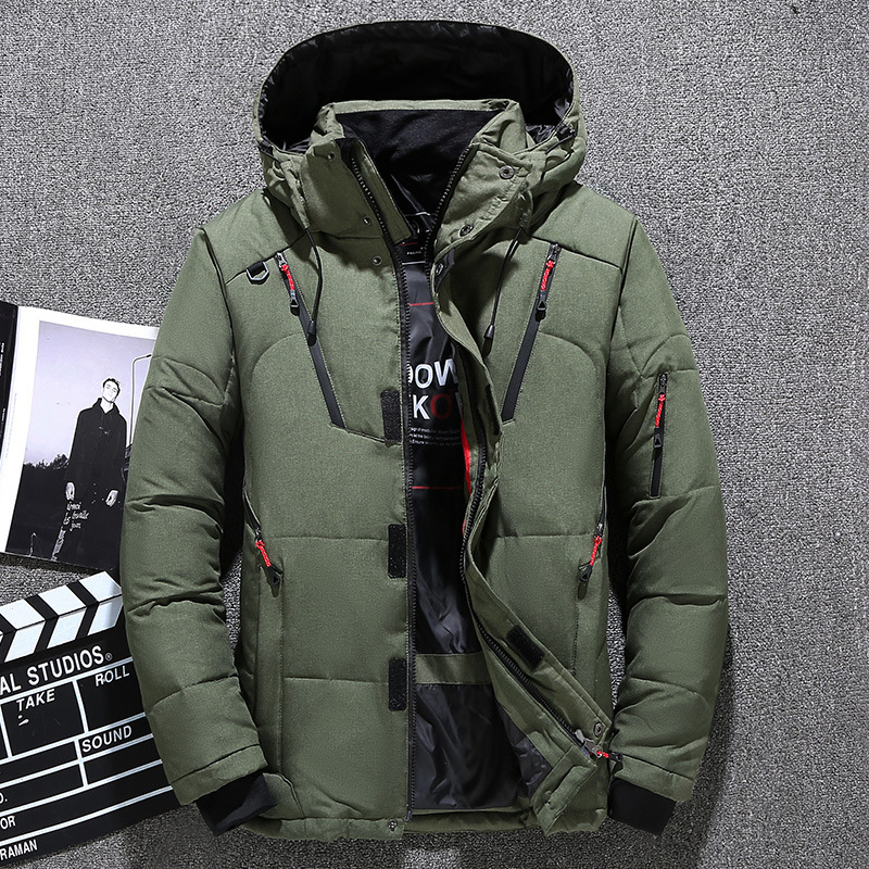 2020 Winter Men's Down Parka Jacket Coat Male Short Thick Windproof Hooded Parka Green Black Blue Gray Orange M-3XL