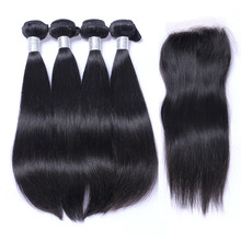 Brazilian Straight Hair Weave 4 Bundles with Closure 100% Grade 10A Unprocessed Virgin Hair Human Hair With Closure(China)
