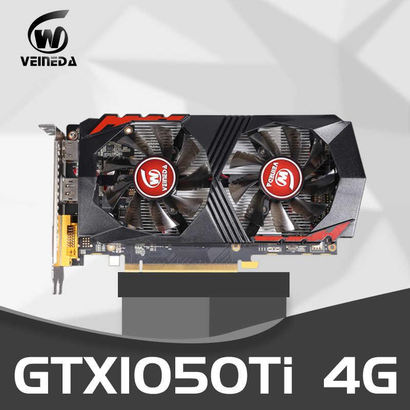 فيديو بطاقة GTX1050Ti للكمبيوتر بطاقة الرسومات PCI-E GTX1050Ti GPU 4G 128Bit DDR5 ل nVIDIA غيفورسي لعبة HDMI موانئ دبي