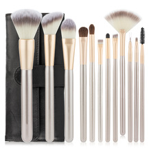 12pcs Makeup Brush Set Champagne High Quality Soft Taklon Hair Professional Makeup Artist Makeup Tool Set Natural Synthetic Silk