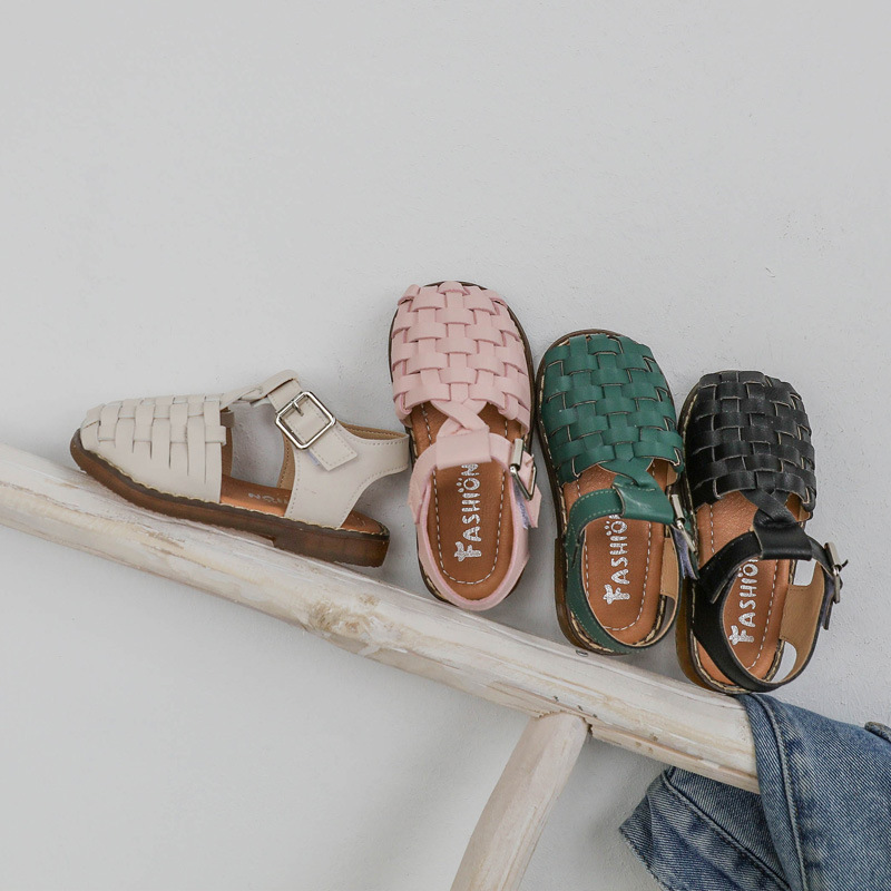 2020 New Vintange Weave Solid Girl's Sandals Closed Toe Sandals For Girl Kids Baby Flat Girls Sandals Summer Kids Shoes D01254